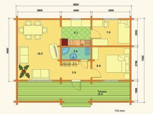 Plano de kit casa madera Elly