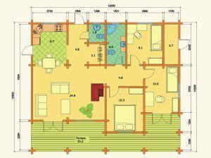 Plano de casas de madera kit Esther