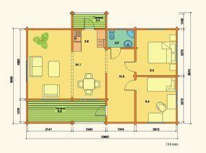 Plano de kit casas en madera Evelin