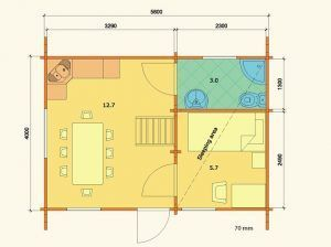 Plano de casa de madera en kit Marika