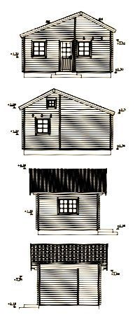 Alzados de Casa De Madera en Kit Marika