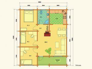 Plano de kit de casa de madera Regina