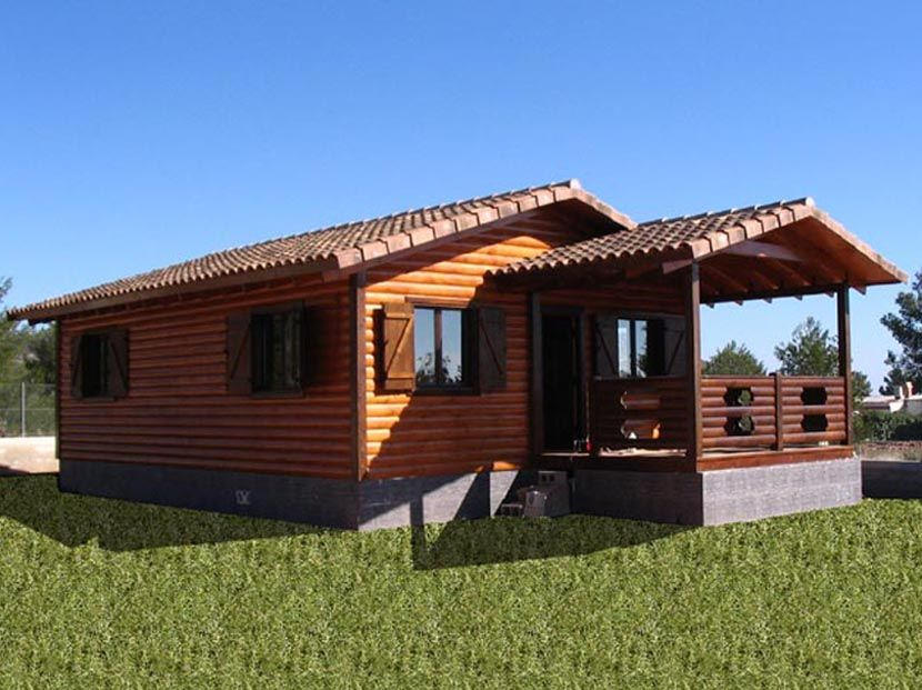 Casa de madera prefabricada modelo Lieta 60m² + porche 11m²