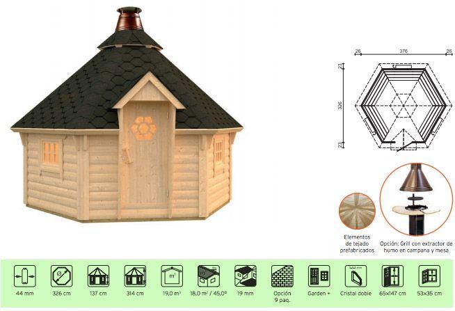 caseta barbacoa de madera en Casas Carbonell