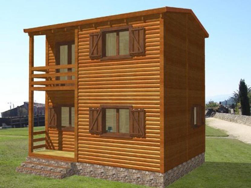 Casa De Madera Modular, modelo Biloba 60 m²