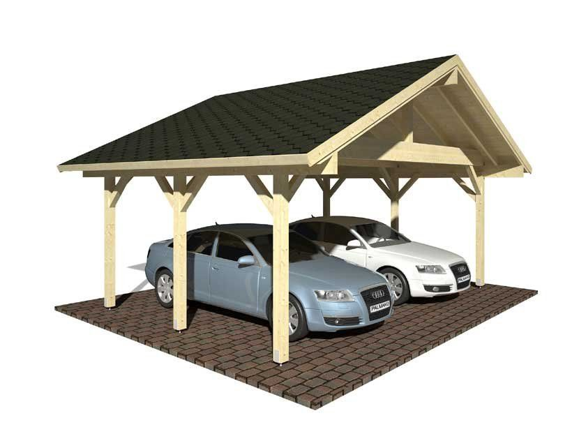 Cochera de madera CARPORT ROBERT 20,6 m² 555×372
