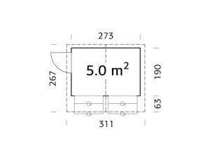 Plano de quiosco de madera Stella 5 de Casas Carbonell