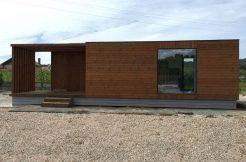Casa modular cúbica, modelo Helena 60, fachada principal