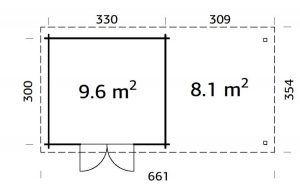 Plano de Cabaña de madera ELSA 9,6 + 8,1 m².