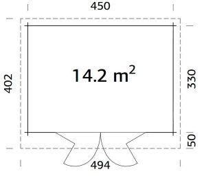 Plano de Cabaña de maderaLEA 14,2