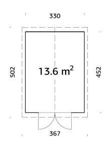 plano de cobertizo de jardín Martín 13.6