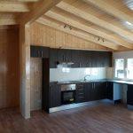 cocina casa de madera en nogal